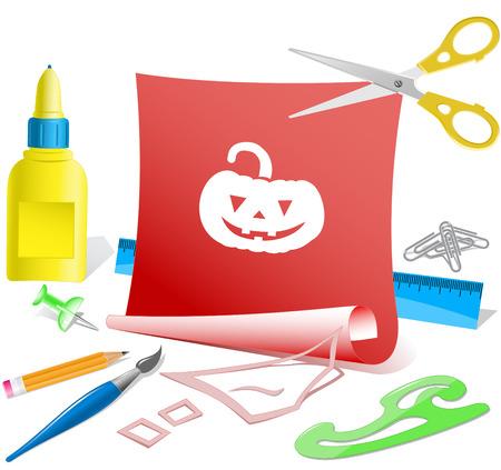 pva: Pumpkin. Paper template. Raster illustration. Illustration