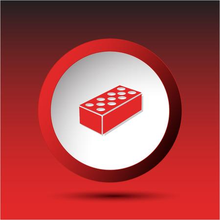 incurved: Hollow brick. Plastic button illustration.