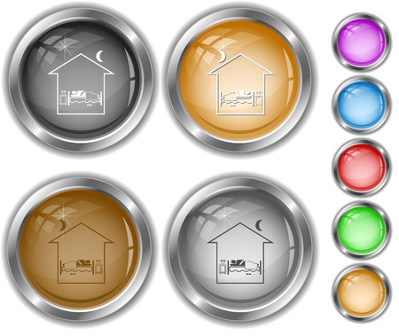 Home bedroom. Internet buttons. Vector
