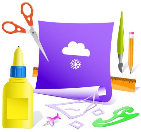 pva: Snowfall  Paper template  Vector illustration