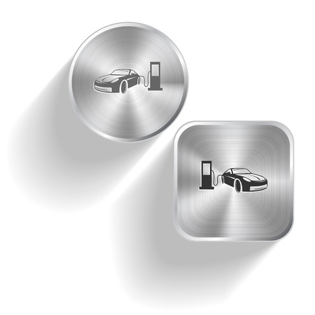 fueling: Car fueling  Vector set steel buttons Illustration