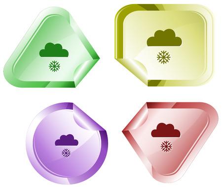 declinate: Snowfall. Vector sticker. Illustration