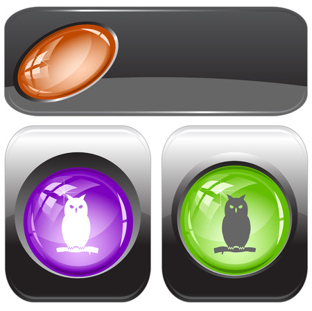 Owl. Vector internet buttons. Vector