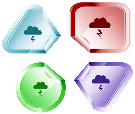 declinate: Storm. Vector sticker. Illustration