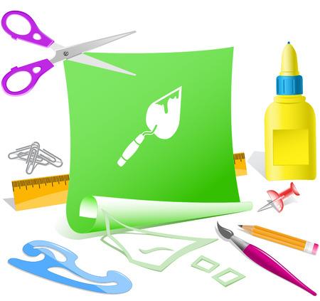 pva: Trowel. Paper template. Raster illustration.