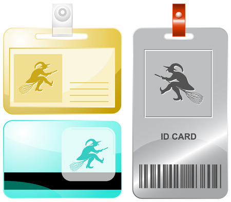 Witch. Vector id cards. Vector