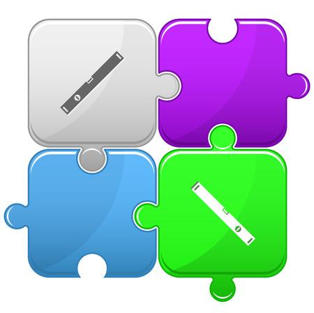 spirit level: Spirit level. Vector puzzle.