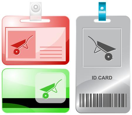 手押し車。ベクトル id カード。