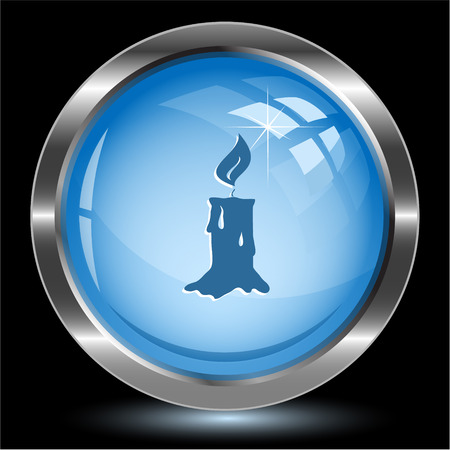 wax glossy: Candle. Internet button. Vector illustration.