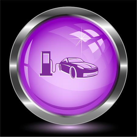 Car fueling. Internet button. Vector illustration. Vector