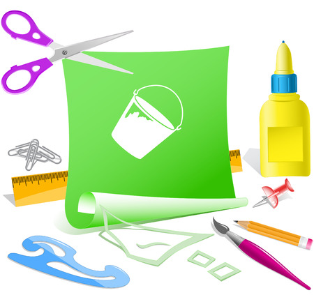 pva: Bucket on Paper template illustration. Illustration