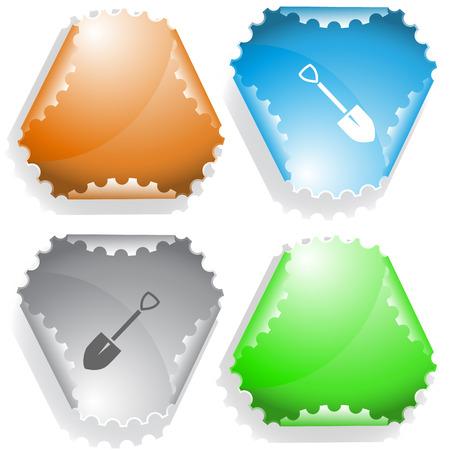 declinate: Spade. Vector sticker. Illustration