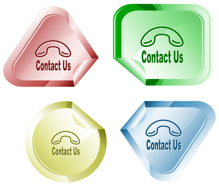 hamous: Contact us. Vector sticker.