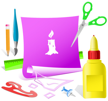 pva: Candle. Paper template. Raster illustration. Illustration