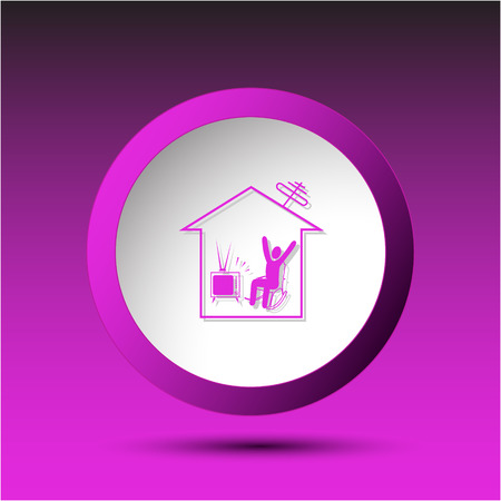 incurved: Home watching TV. Plastic button. Vector illustration. Illustration