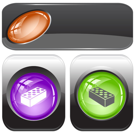 internet buttons: Hollow brick. Vector internet buttons. Illustration