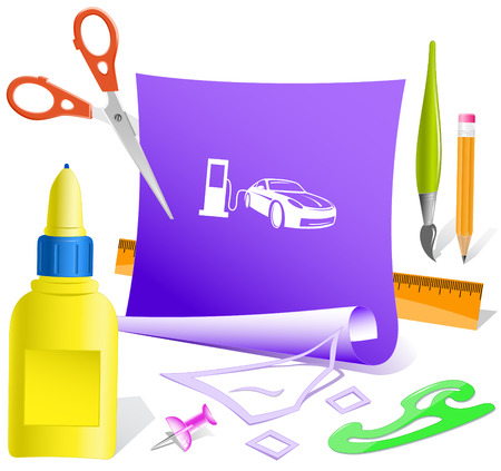 thumbtack: Car fueling. Paper template. Raster illustration. Illustration