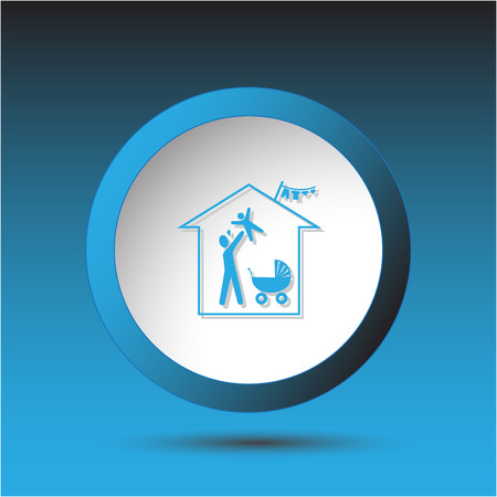 incurved: Family home. Plastic button. Vector illustration.