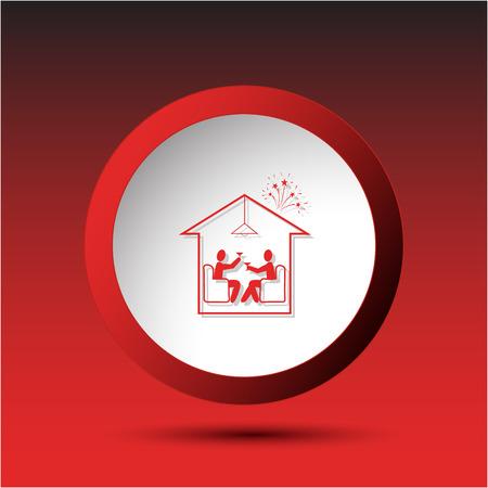 incurved: Home celebration. Plastic button. Vector illustration.