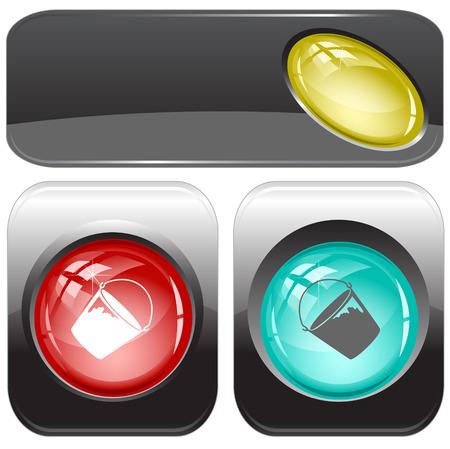 internet buttons: Bucket. Vector internet buttons.