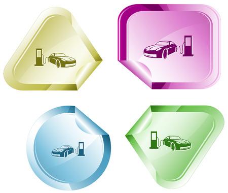 Car fueling. Vector sticker.