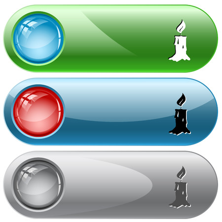 internet buttons: Candle. Vector internet buttons.