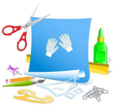 Gauntlets. Paper template. Raster illustration. Vector