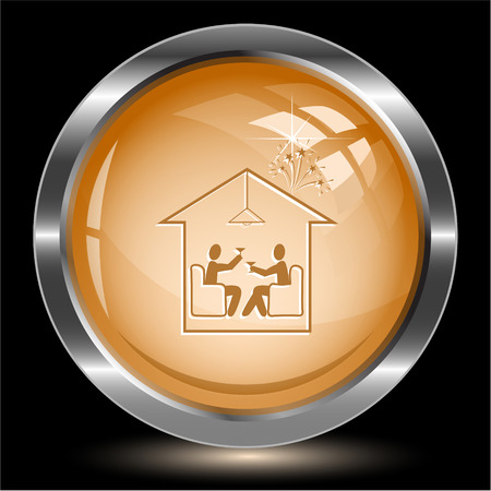 push room: Home celebration. Internet button. Vector illustration. Illustration
