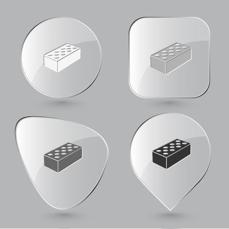 hollow: Hollow brick. Glass buttons. Vector illustration.