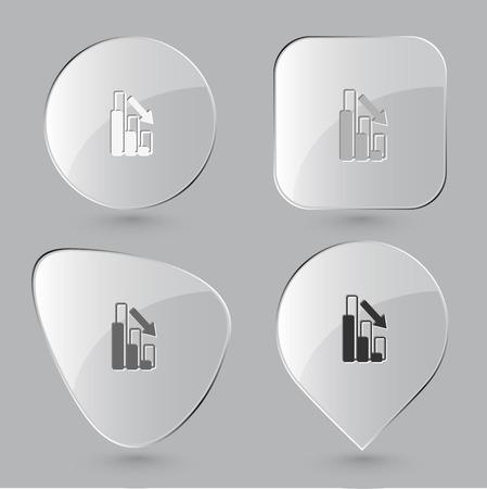 slump: Graph degress. Glass buttons. Vector illustration.