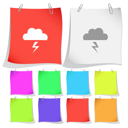 thunderclap: Storm. Vector note papers.