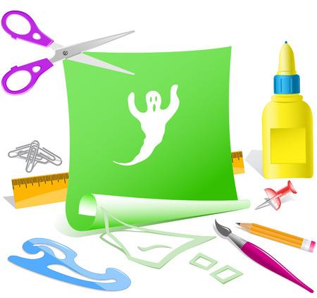 pva: Ghost. Paper template. Raster illustration.