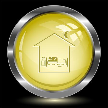 Home bedroom. Internet button. Vector illustration. Vector
