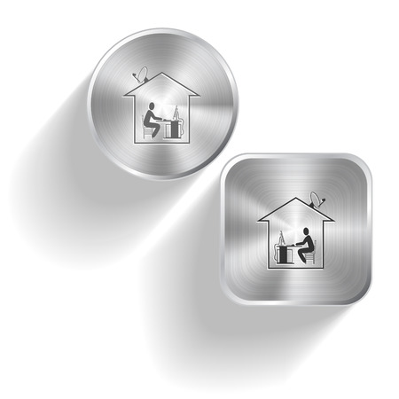 work from home: Home work. Vector set steel buttons