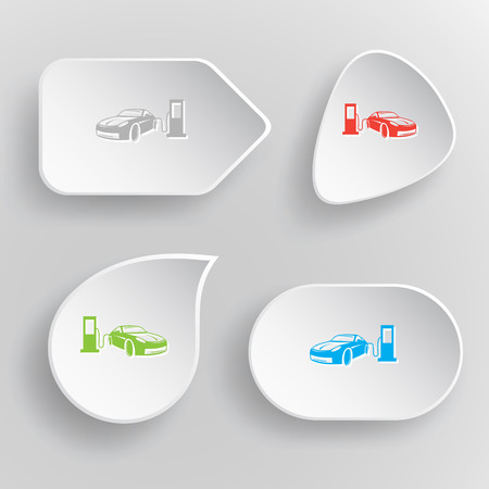 fueling: Car fueling. White flat vector buttons on gray background. Illustration