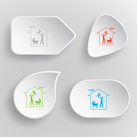Family home. White flat vector buttons on gray background. Vector