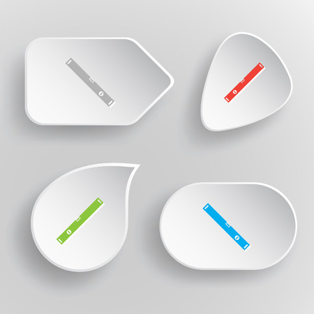 plumb: Spirit level. White flat vector buttons on gray background.