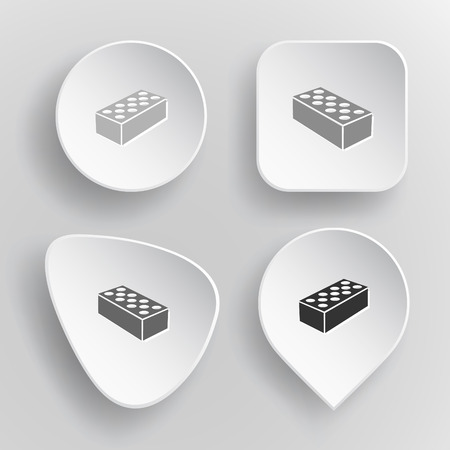hollow wall: Hollow brick. White flat vector buttons on gray background.