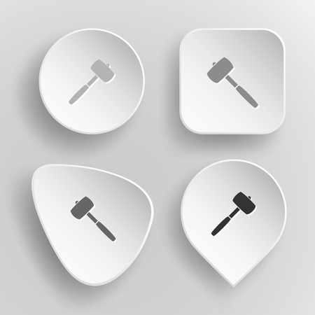 Mallet. White flat vector buttons on gray background. Vector