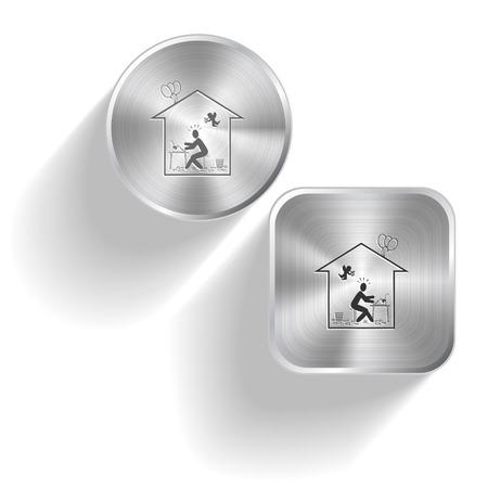 Home inspiration. Vector set steel buttons Vector