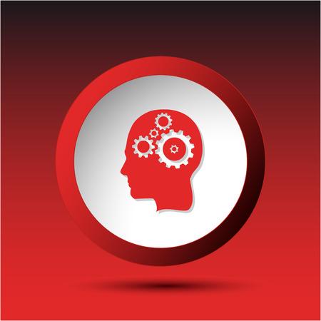 incurved: Human brain. Plastic button. Vector illustration.