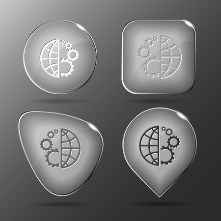 global settings: Globe and gear. Glass buttons. Vector illustration.