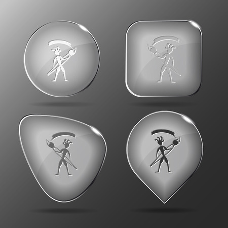 Ethnic little man with brush. Glass buttons. Vector illustration. Vector