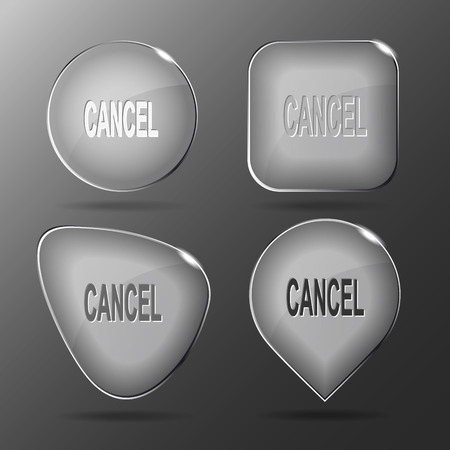 override: Cancel. Glass buttons. Vector illustration.