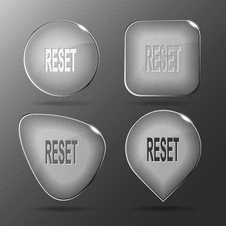 override: Reset. Glass buttons. Vector illustration.