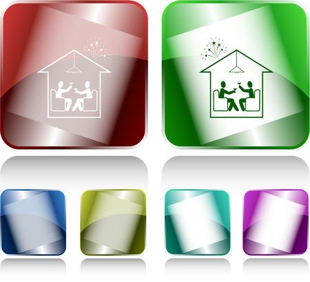 push room: Home celebration. Internet buttons. Vector illustration. Illustration