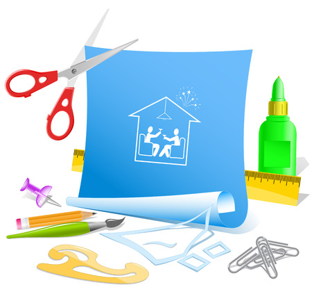 pva: Home celebration. Paper template. Raster illustration.