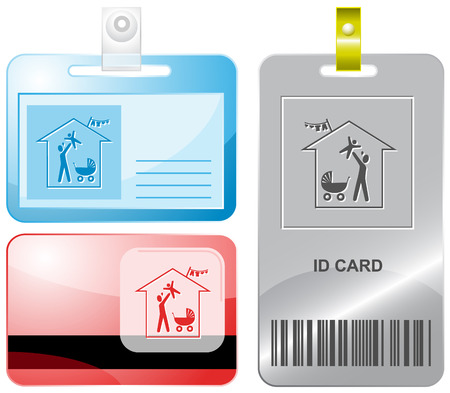 Family home. id cards. Vector
