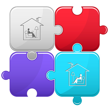 pieces of furniture: Home reading. Vector puzzle.