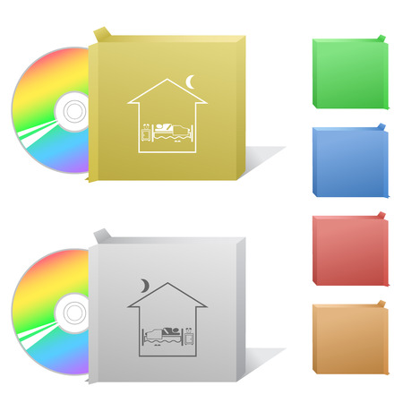 Home bedroom. Box with compact disc. Vector
